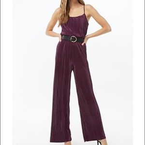 Forever 21 Cami Purple Pleated Jumpsuit